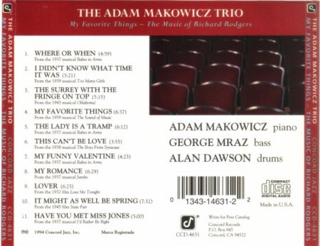 Adam Makowicz Trio - My Favorite Things: The Music Of Richard Rodgers  (1994) Lossless