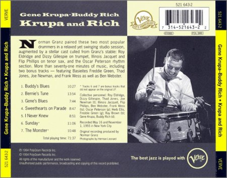 Gene Krupa, Buddy Rich - Krupa And Rich (1955) (Remastered, 1994) Lossless