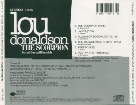 Lou Donaldson - The Scorpion: Live at the Cadillac Club (1970) (1995) Lossless